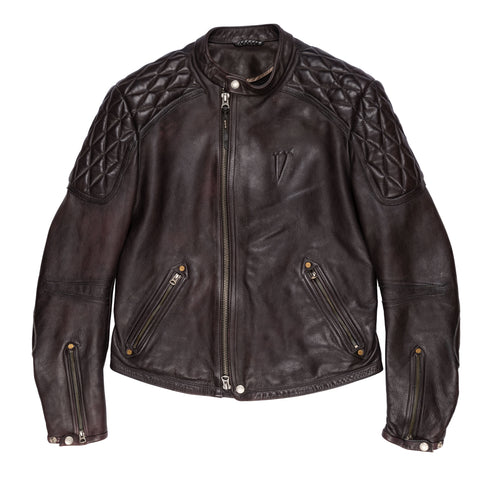 THEDI LEATHERS X LEGENDARY Black Cafe Racer Leather Biker Jacket Size M NEW Slim
