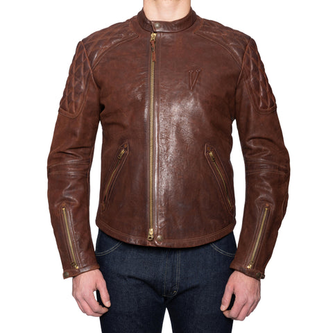 THEDI LEATHERS X LEGENDARY Brown Cafe Racer Leather Biker Jacket NEW Size S Slim