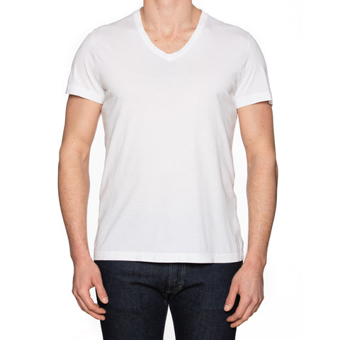 THEORY Solid White Pima Cotton V-Neck T-Shirt Size L