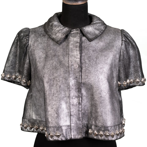 THOMAS WYLDE Silver Lamb Leather with Metal Studs Bolero Jacket NEW US 6