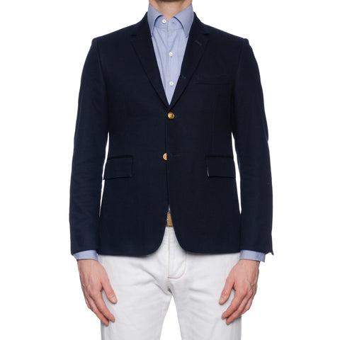 THOM BROWNE New York Navy Blue Cotton Blazer Jacket Size 2