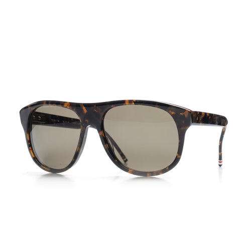 THOM BROWNE TB-008 B-T-55 Tokyo Tortoise Rounded Square Sunglasses NEW with Case