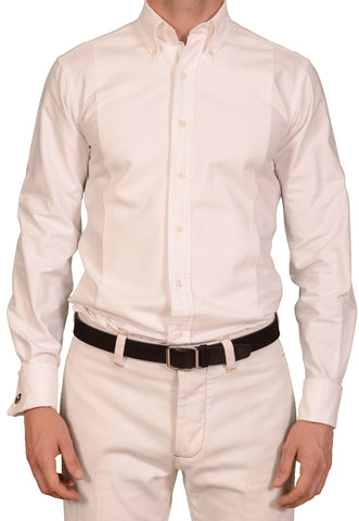 THOM BROWNE White Cotton Button-Down Tuxedo French Cuff Dress Shirt Size 2