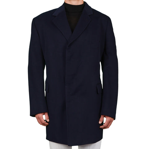 TINCATI Milano Handmade Navy Blue Cashmere Coat EU 60 NEW US 4XL Big and Tall