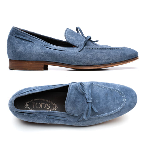 TOD'S Blue Suede Leather Slip-On Driving Shoes Loafers IT 6 US 7 Shoes Bag