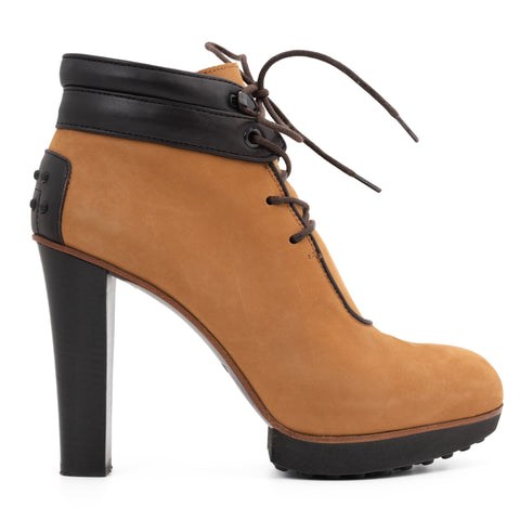 TOD'S Tan Leather Lace-up Women's Ankle Boots EU 38 US 8
