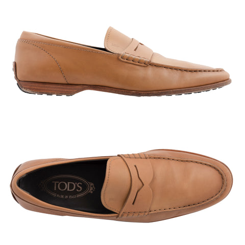 TOD'S Tan Leather Slip-On Driving Shoes Penny Loafers IT 6.5 US 7.5