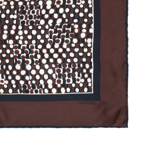 TOM FORD Brown Dot Silk Classic Pocket Square Pochette NEW 40cm x 40cm