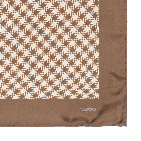 TOM FORD Brown Patterned Silk Classic Pocket Square Pochette NEW 39cm x 39cm