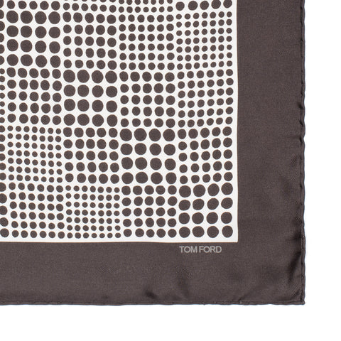 TOM FORD Dark Brown Polka Dot Silk Pocket Square Pochette NEW 40cm x 40cm