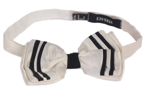 "VERSACE Made In Italy Handmade White Silk Classic Bow Tie Size 16"" - 20.5"""