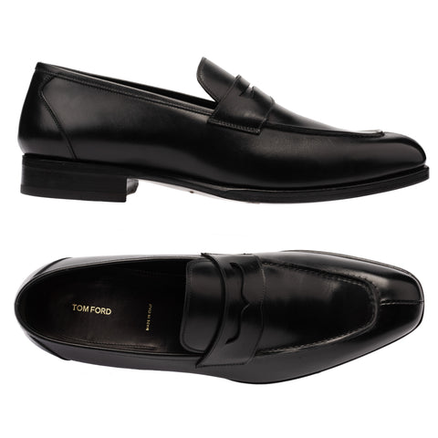 TOM FORD Black Leather Moc Split Toe Dress Shoes Penny Loafer NEW with Box