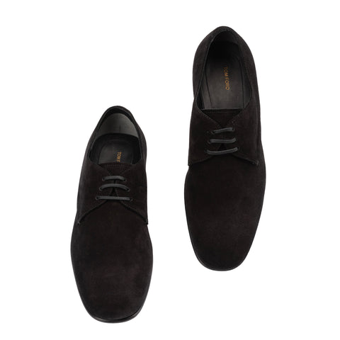 TOM FORD Black Suede Leather Formal 3 Eyelet Derby Shoes NEW with Box