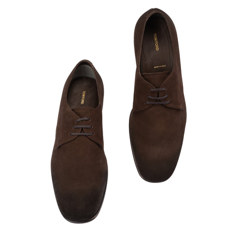 TOM FORD Brown Suede Leather Formal 3 Eyelet Derby Shoes NEW with Box