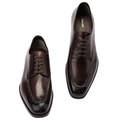 TOM FORD Burgundy Leather 5 Eyelet Moc Split Toe Derby Dress Shoes NEW with Box