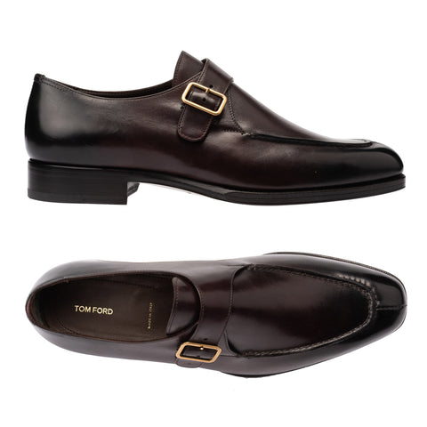 TOM FORD Burgundy Leather Single Monk Split Toe Dress Shoes NEW with Box