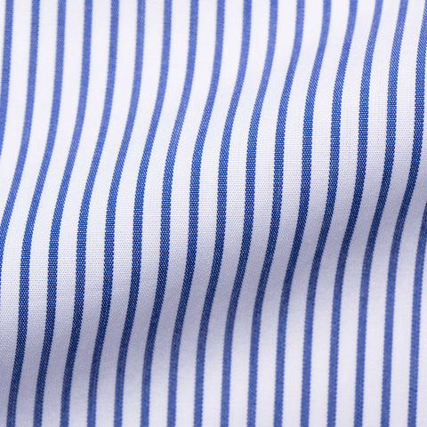 TURNBULL & ASSER Bespoke Blue Striped Cotton French Cuff Dress Shirt NEW 15.75