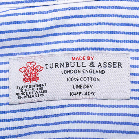 TURNBULL & ASSER Bespoke Blue Striped Cotton French Cuff Dress Shirt NEW US 15.7