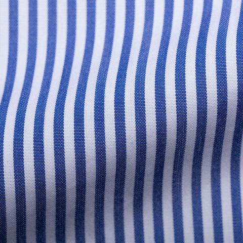 TURNBULL & ASSER Bespoke Blue Striped Cotton French Cuff Shirt NEW US 15.75