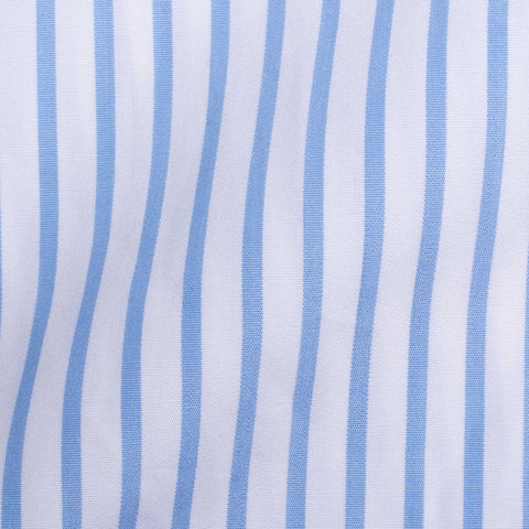 TURNBULL & ASSER Bespoke Light Blue Striped Cotton French Cuff Shirt US 15.75