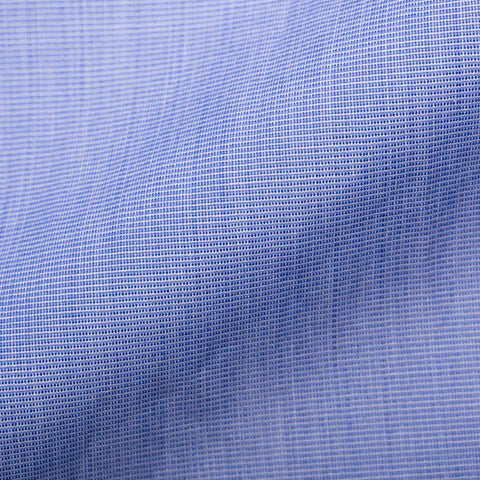 TURNBULL & ASSER Bespoke Solid Blue End-on-End Cotton French Cuff Shirt NEW 15.75