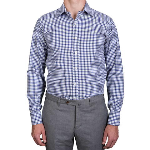 TURNBULL & ASSER Bespoke Blue Plaid Cotton French Cuff Dress Shirt US 16