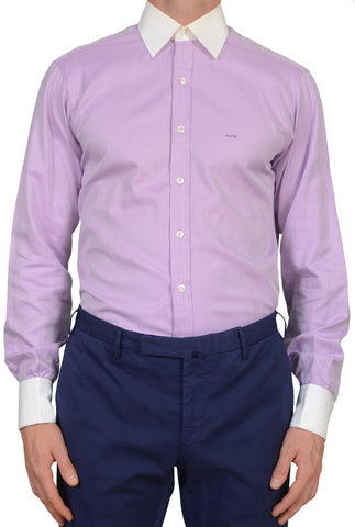 TURNBULL & ASSER Bespoke Purple Herringbone Cotton F Cuff Dress Shirt US 15.75