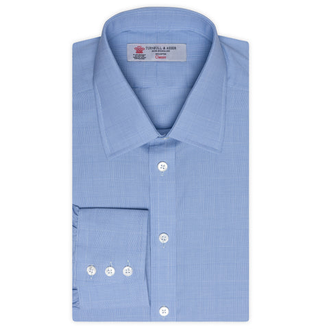 TURNBULL & ASSER Blue Plaid Cotton Classic T&A Dress Shirt NEW Regular Fit