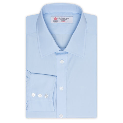 TURNBULL & ASSER Blue Poplin Cotton Classic T&A Dress Shirt NEW Regular Fit