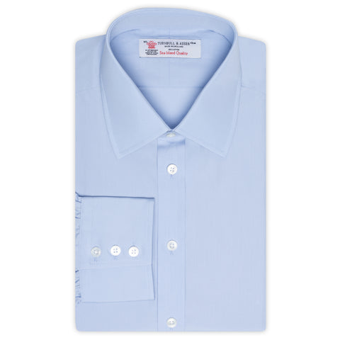 TURNBULL & ASSER Blue Sea Island Cotton Classic T&A Dress Shirt NEW Regular Fit