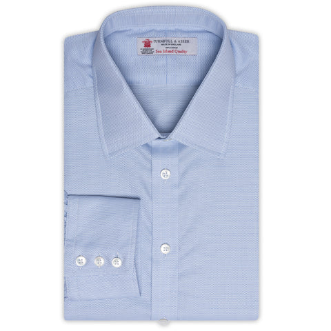 TURNBULL & ASSER Blue Sea Island Cotton Dress Shirt EU 43 NEW US 17 Regular Fit