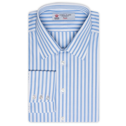 TURNBULL & ASSER Blue Striped Cotton Classic T&A Dress Shirt NEW Regular Fit