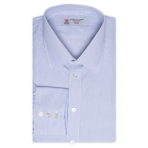 TURNBULL & ASSER Blue Striped Cotton Dress Shirt EU 44 NEW US 17.5 Regular Fit