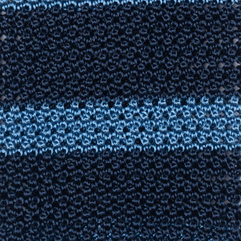 TURNBULL & ASSER Classic Handmade Blue Striped Silk Knitted Tie NEW