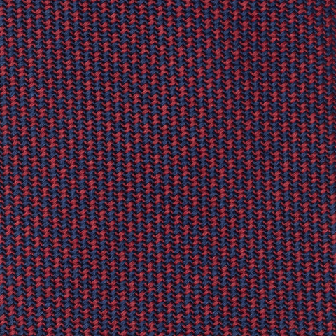 TURNBULL & ASSER Classic Handmade Burgundy-Navy Blue Houndstooth Silk Tie NEW