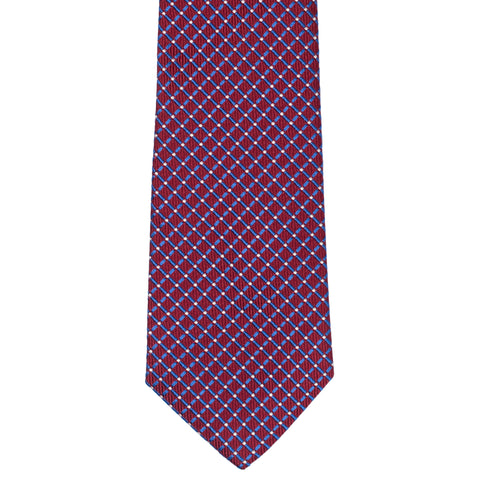 TURNBULL & ASSER Classic Handmade Burgundy Plaid Jacquard Silk Tie NEW