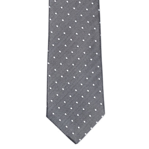 TURNBULL & ASSER Classic Handmade Gray Herringbone White Spot Silk Tie NEW