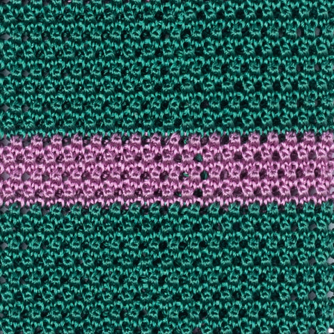 TURNBULL & ASSER Classic Handmade Green-Pink Striped Silk Knitted Tie NEW