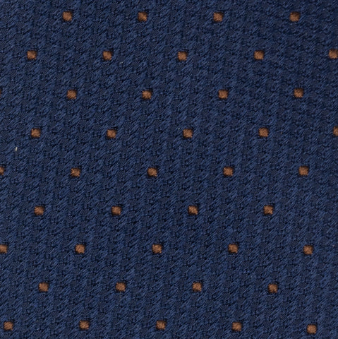 TURNBULL & ASSER Classic Handmade Navy Blue Brown Spot Lace Silk Tie NEW