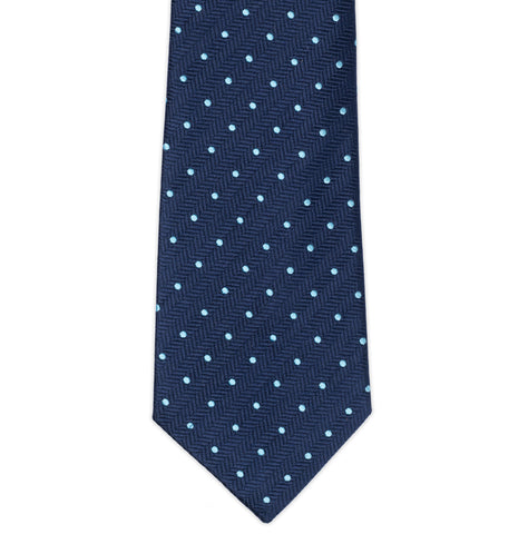 TURNBULL & ASSER Classic Handmade Navy Blue Herringbone Blue Spot Silk Tie NEW