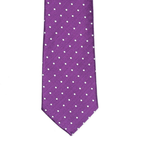 TURNBULL & ASSER Classic Handmade Purple Herringbone White Spot Silk Tie NEW