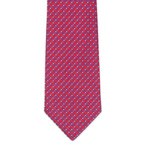 TURNBULL & ASSER Classic Handmade Red Plaid Jacquard Silk Tie NEW