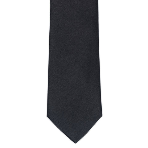 TURNBULL & ASSER Classic Handmade Solid Black Plain Satin Silk Tie NEW