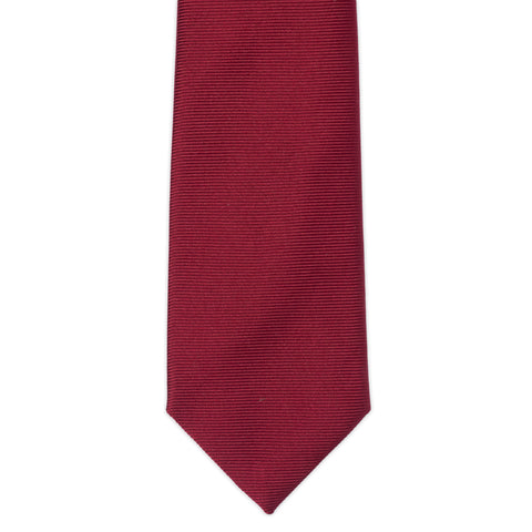 TURNBULL & ASSER Classic Handmade Solid Burgundy Twill Silk Tie NEW