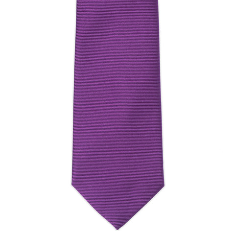 TURNBULL & ASSER Classic Handmade Solid Purple Twill Silk Tie NEW