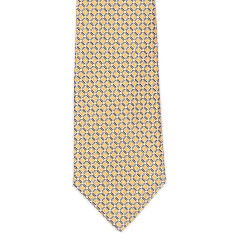 TURNBULL & ASSER Classic Handmade Yellow Plaid Jacquard Silk Tie NEW