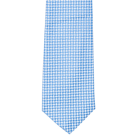 TURNBULL & ASSER Exclusive Handmade Blue-White Rhombus Jacquard Silk Tie NEW