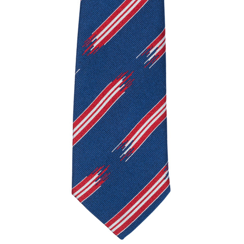TURNBULL & ASSER Exclusive Handmade Navy Blue-Red Striped Silk Tie NEW