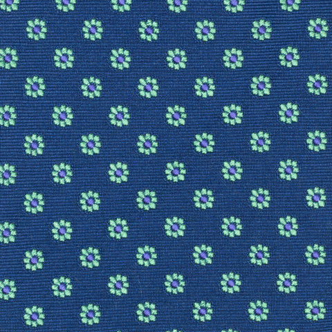 TURNBULL & ASSER Exclusive Handmade Navy Blue Green Floral Silk Tie NEW
