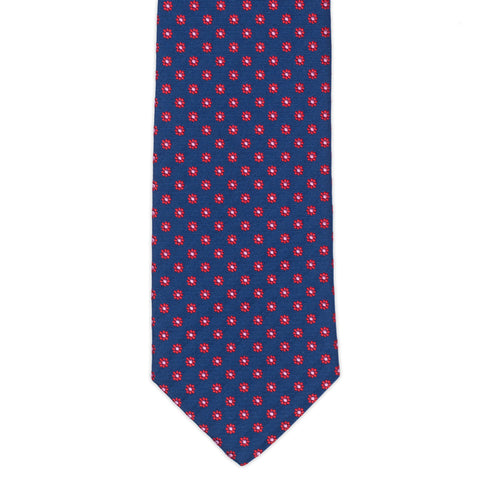 TURNBULL & ASSER Exclusive Handmade Navy Blue Red Floral Silk Tie NEW